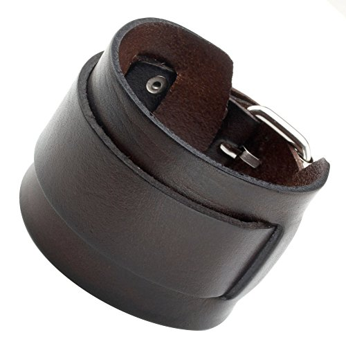 Zysta Punk Unisex Genuine Leather Wide Belt Wristband Bangle Cuff Bracelet 7