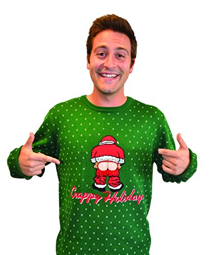Digital Dudz Moving Mooning Santa Sweater, Large, Green