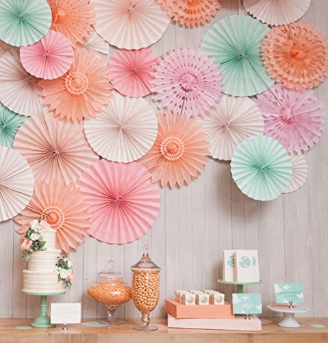 SANNIX Vintage Collection Hanging Tissue Paper Fan Party Decoration 8 Various Sizes 6 PCs Peach