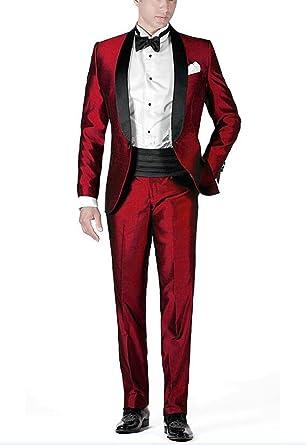 Aokaixi - Traje - para hombre Rojo rosso 52 es-chaqueta, 46 ...