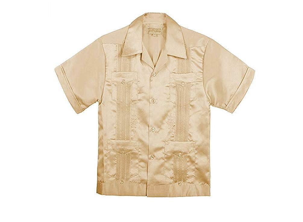 Scorpio Motorcycle Alarms Kids Little Boys//Big Boys Guayabera Satin Short Sleeve Button Down Dress Casual Shirt