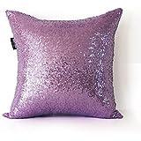 AMAZLINEN(TM) Decorative Glitzy Sequin U0026 Comfy Satin Solid Throw Pillow  Cover 18 Inch Square Pillow Case, Hidden Zipper Design, 1 Cover Pack  Only(Lavender)