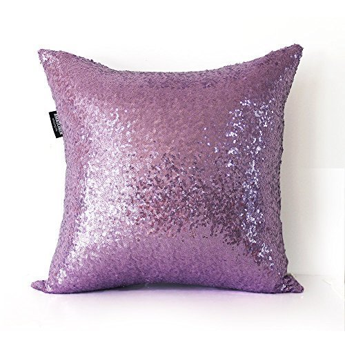 AMAZLINEN Decorative Glitzy Sequin & Comfy Satin Solid Throw