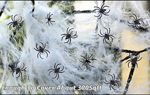Halloween Spider Web White Cob Webs£¨100g£ with 60 Pieces Fake Plastic Spiders Stretchable(300 Square Feet) Spider Webs Indoor & Outdoor Spooky Spider Webbing for Halloween Decorations]()