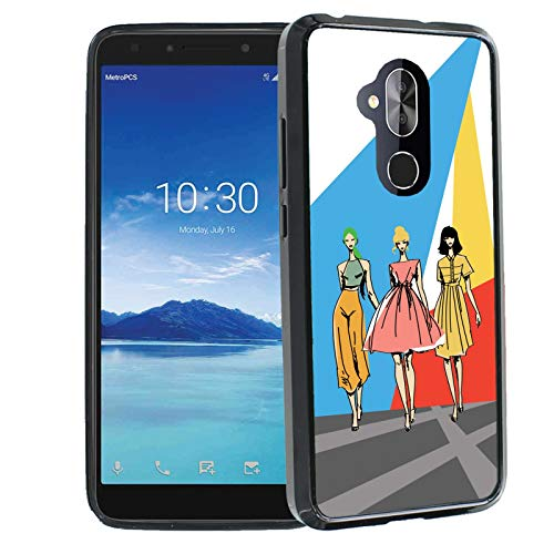 TalkingCase Superior Series Phone Cover Case for Alcatel 7, REVVL 2 Plus, Black Premium Thin Edge Bumper Corners, Duo-Layer Slim Gel, Runway Fashion Girls Print, Designed and Printed in USA ()