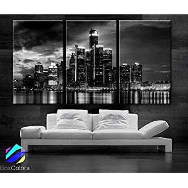 Large 30 x 60  3 Panels 30 x20  Ea Art Canvas Print Beautiful Detroit Skyline Black & White Wall Home (Included Framed 1.5  Depth)