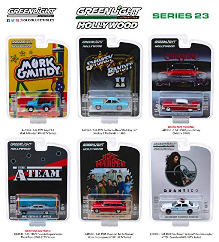Greenlight Hollywood Series Release 23, Set of 6 Cars 1/64 Diecast Models - Set Plymouth Fury
