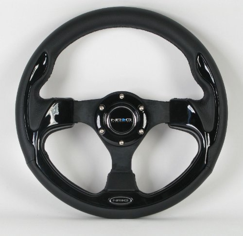 (NRG Steering Wheel - 01 (Pilota) - 320mm (12.60 inches) - Black Leather with Black Spokes / Black Trim - Part # ST-001BK by NRG Innovations)