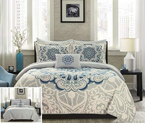 - Chic Home Raina 4 Piece Reversible Quilt Coverlet Set Large Scale Boho Inspired Medallion Paisley Print Design Bedding - Decorative Pillow Shams Included King Blue