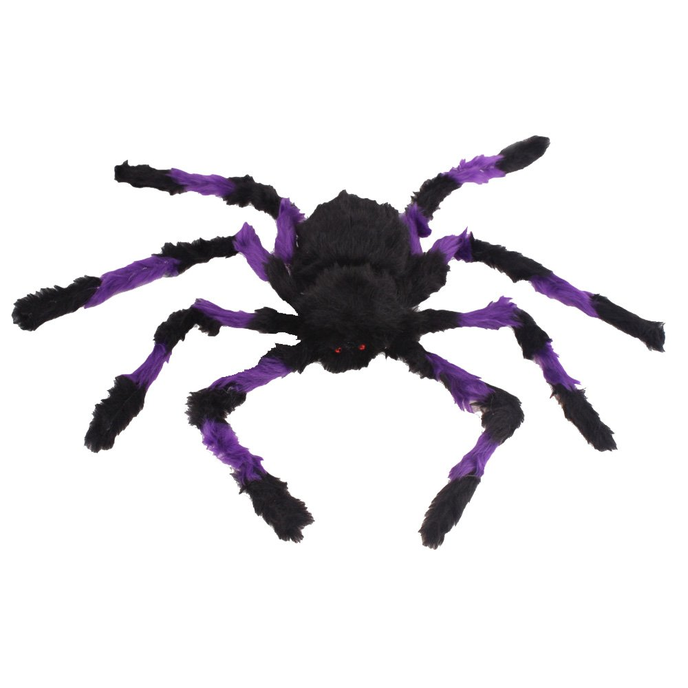 Large Spider Toy Decoration For Halloween by Hello Halloween | Giant halloween spider with Red Eye for Spooky Halloween Fun | 30 inch.for Indoors or Outdoors use