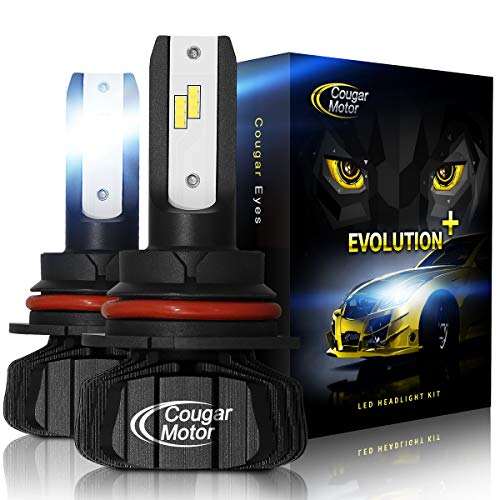- Cougar Motor 9007 Led headlight bulb, 9600Lm 6500K (High/Low) Fanless Conversion Kit - 3D Bionic Technology, 360°Adjustable Beam