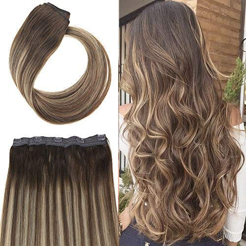 Youngsee 18inch 70G Clip in One Piece Human Hair Extensions Ombre Balayage Dark Brown Fading to Caramel Blonde Mix Brown 3/4 Full Head Remy Clip Hair Extensions with 5 Clips