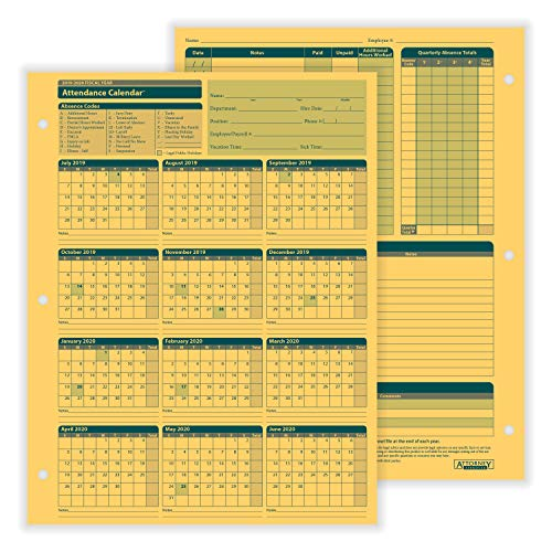 - ComplyRight Fiscal Year Attendance Calendar, 2019-2020, Pack of 50