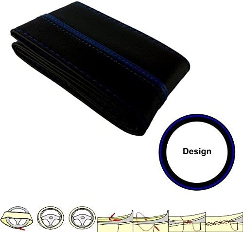 Akhan SC302BB Steering Wheel Cover-Blue Black Cover Protector 37-39 cm Leather Lace-Up