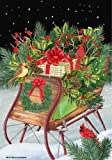 Christmas Winter Country Sleigh Cardinal Presents House Flag 28 x 40 For Sale