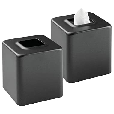 mDesign Modern Square Metal Paper Facial Tissue Box Cover Holder for Bathroom Vanity Countertops, Bedroom Dressers, Night Stands, Desks and Tables - 2 Pack - Black