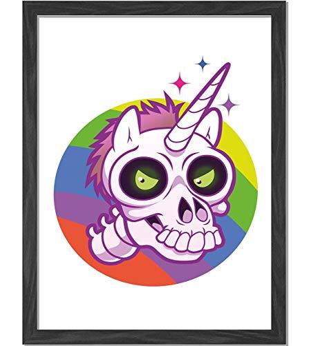 BCWAYGOD Doodle Style Cartoon Unicorn Skull with Green Eyes with Rainbow Background Funny Multicolor Framed Art Print Wall Art A4 - Calendar Print Rainbow