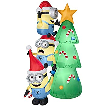 Gemmy Inflatables Minions Decorating Tree Scene - Amazon.com: 8' Despicable Me Inflatable Minion Kevin With Candy Cane