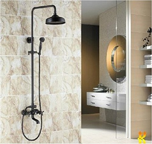 Rozinsanitary Traditional Shower Faucet Set Oil-rubbed Bronze Rainfall Shower Head Dual Handles Hand W/ Hand Shower by ROZINSANITARY