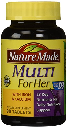 - Nature Made, Multi For Her with Iron and Calcium, 90-Count Tablets