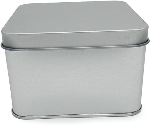 DingSheng - Caja de latas vacía y abatible rectangular de metal plateado, tamaño pequeño, caja de joyería