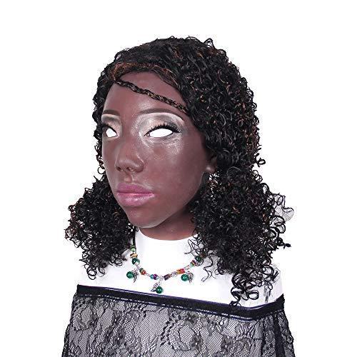 Handmade African American Girls Head Mask Realistic Soft Silicone Face for Crossdresser Transgender Halloween -