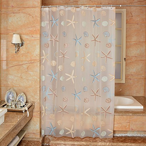 Uforme Sea Star Theme Pattern Shower Curtain Liner Waterproof, 100% Eco-friendly PEVA Bathroom Curtian Mildew Resistant with Rustproof Metal Grommets, Standard Size, 72Wx72H