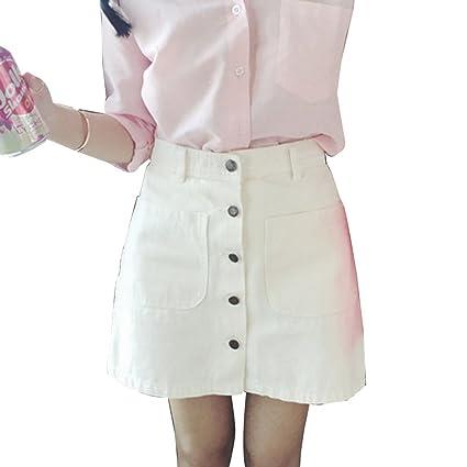 Guiran Falda Vaquera Mujer Minifalda Mezclilla Falda De Tubo Botón Frontal  Blanco S 0cedc7e0f88d