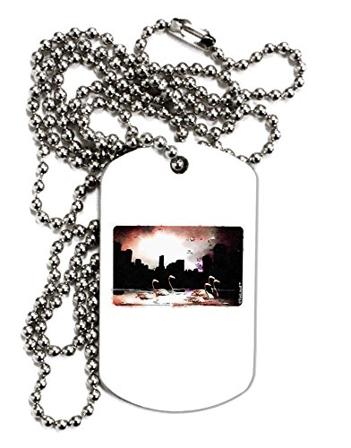 tooloud-nighttime-flamingos-adult-dog-tag-chain-necklace