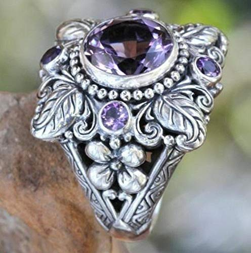 (Monowi Vintage 925 Silver Agate Amethyst Marquise Cut White Sapphire Wedding Ring Jewel | Model RNG - 19447 | 5)