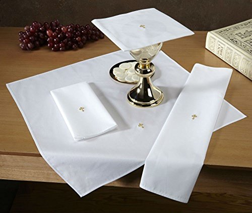 Set of 12 Cotton Blend Lava Towel with Gold Fleur de Lis Cross by AT001