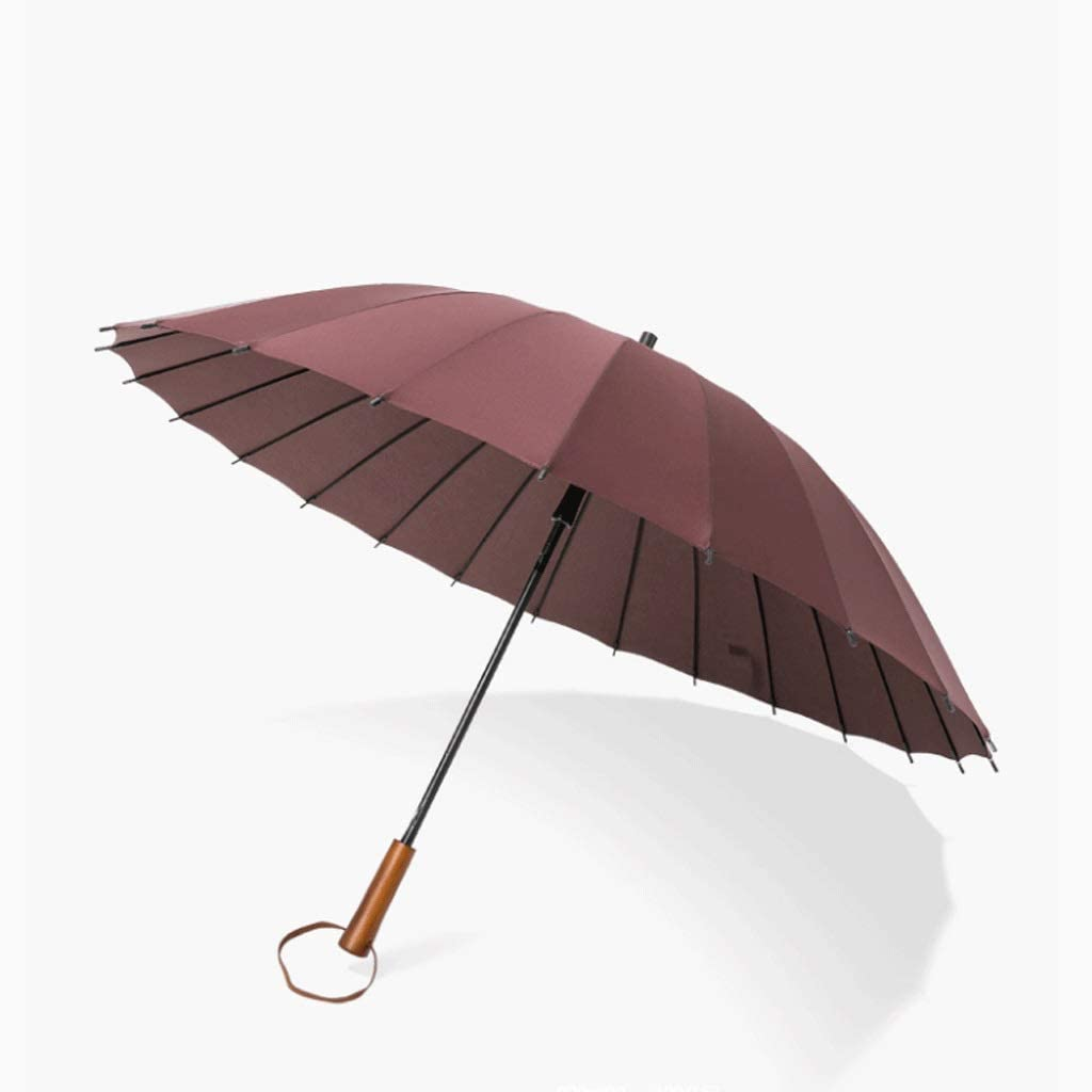 Color : Brown CCF 24 Bone Long Handle Umbrella Men and Women Double Personality Windproof Creative Trend Reinforcement Oversized