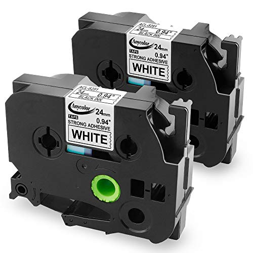 4 PK TZe-S251 For Brother PT-P750W Extra Strength Black on White Label Tape 24mm