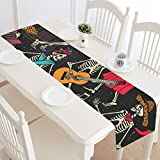 Fantasy Design Skeleton Dance Cotton Linen Cloth Long Table Runner for Office Kitchen Dining Wedding Party Home Decor 16 X 72 Inches