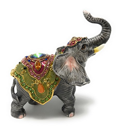 Elephant Crystal Jewelry - Kubla Crafts Enameled Circus Good Luck Elephant Trinket Box, Accented with Austrian Crystals