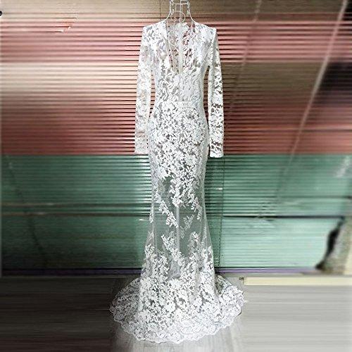 Noche Del Mujeres La Falda Vestido Cordón Las Manera Blanco Hyw Gasa De wgSI61FSqx
