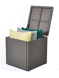 Captivating Outdoor Patio Resin Wicker Deck Box Storage Container Bench Seat, 21  Gallon, Anti Rust