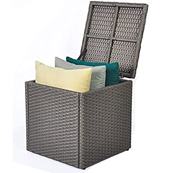 Outdoor Patio Resin Wicker Deck Box Storage Container Bench Seat, 21  Gallon, Anti Rust