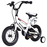 MD Group Kids Bicycle 12'' Freestyle White Metal Frame Adjustable with Training Wheels