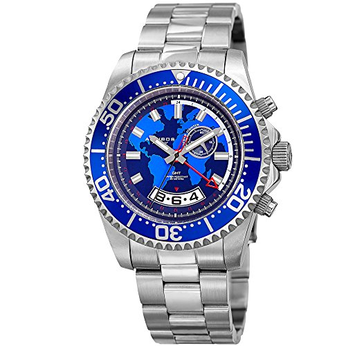 Akribos XXIV Men's Diver Watch - Multifunction Retrograde Date and Seconds, GMT – Silver Stainless Steel Bracelet Wristwatch with Blue Dial and Bezel - AK955SSBU (Date Gmt Watch)