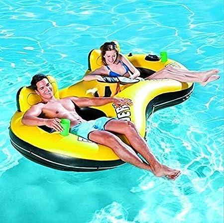 AJH Tumbona Inflable de Piscina 2 manijas 2 Orificios para Tazas Papel de reparación Potente Tumbona de Piscina de Doble Flotador Silla Hamaca de Agua