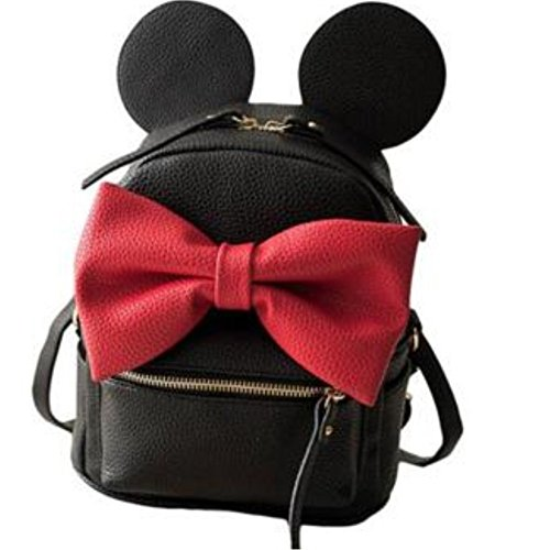 Mouse Purse (Waterproof Schoolbag Zipper Close Mickey Mouse Small Backpack with Bowknot BK7)