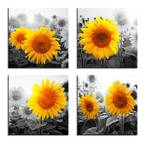 Picture Sunflower (Canvas Wall Art for Living Room Bathroom Wall Decor for Bedroom Kitchen Artwork Canvas Prints Sunflower Flowers Painting 12