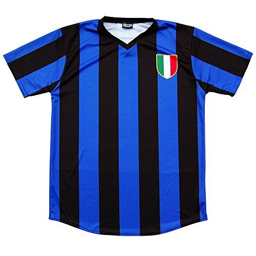Inter Milan Retro #10 Soccer Jersey, Adult Small, Royal and Black Inter Milan Football Shirts