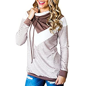 Coutgo Women's Patchwork Hoodies Long Sleeve Stripe Pullover Tops (Brown, M)