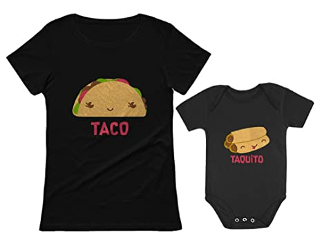 eb81f803095c76 Taco & Taquito Baby Bodysuit & Women's T-Shirt Set Mommy & Me Matching  Outfit