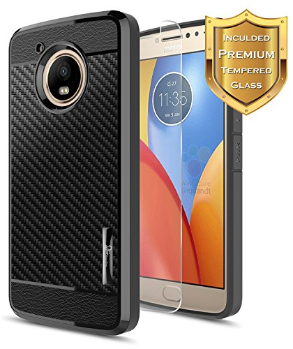 Moto E4 Case with [Tempered Glass Screen Protector], NageBee [Frost Clear] [Carbon Fiber] Slim Soft TPU Protective Bumper Cover Case for Motorola Moto E 4th Generation (Black)