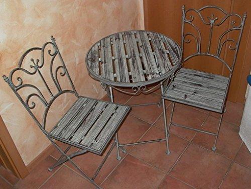 Amazonde Tisch 2 Stühle Sitzgruppe Aus Metall Mit Holzplatte