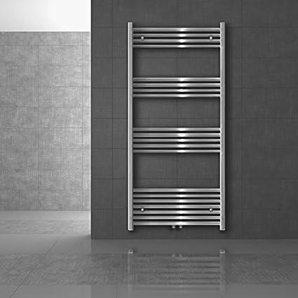 ECD Germany Radiador de baño 400 x 1500 mm - cromado - curvado con conexión central - radiador toallero para baño
