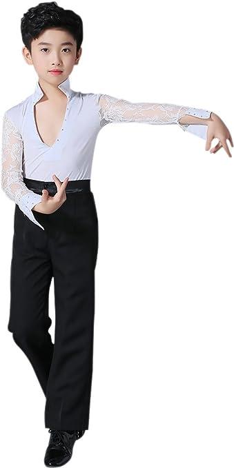 BOZEVON Niños Clásico Cuello V Cordón Mangas Largas Latín Baile Camisa Actuación Ropa Escénica Disfraces Moda Bailando Jazz Trajes: Amazon.es: Ropa y accesorios
